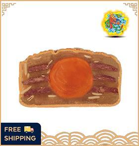 【4 Pcs】单黄肉干莲蓉月饼 Lotus Dried Meat (1 Yolk)